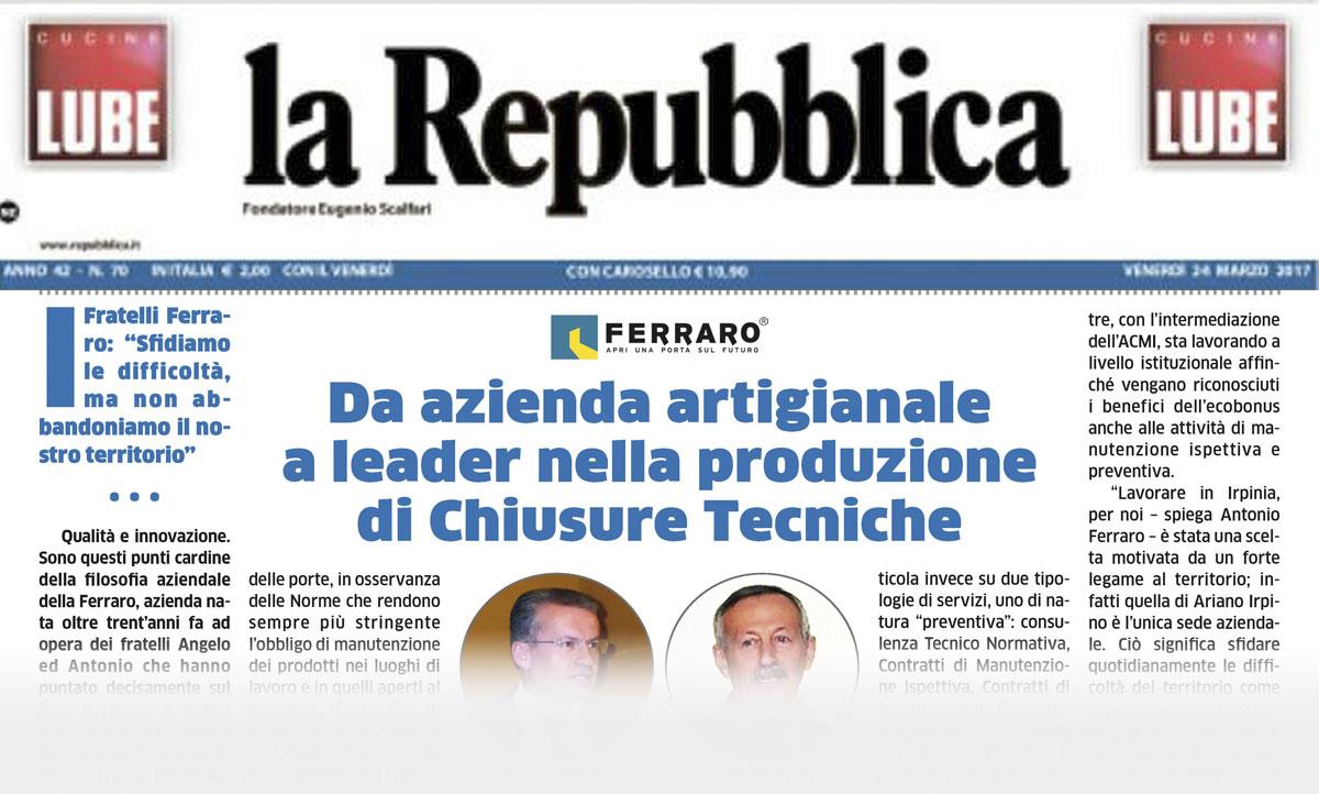 """la Repubblica 24/03/2017 """"RAPPORTO ECONOMIA IRPINIA 2017"""""""