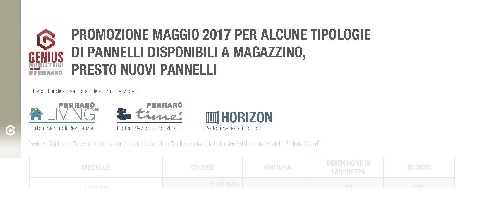 Promozione Maggio 2017 – Sconti dal 5% al 20%