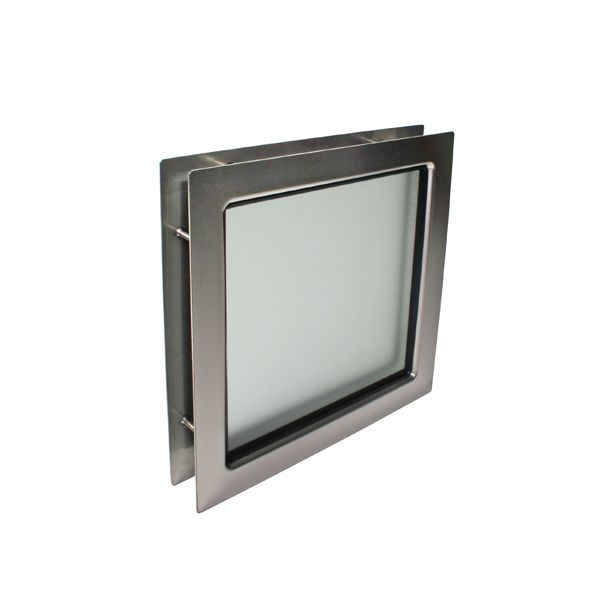 Oblò Quadrato in acciaio inox 310x310 mm con vetro camera traslucido